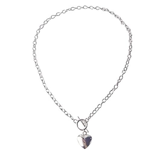 Collar con colgante de corazón de melocotón de amor retro Collar de joyería femenina Regalos de vacaciones románticos Accesorios elegantes - Plata
