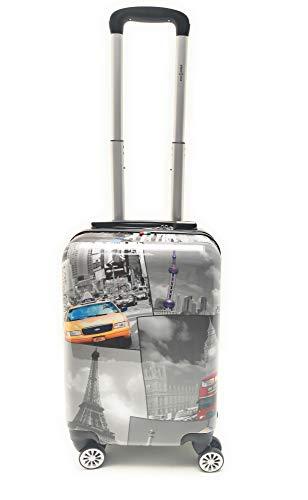 Trolley Bagaglio a Mano Ryanair Priority Abs Lucido con Disegno 8 Ruote Idoneo Cm.55x40x20 misure effettive cm.52x35x20 (BL308/1Torri)