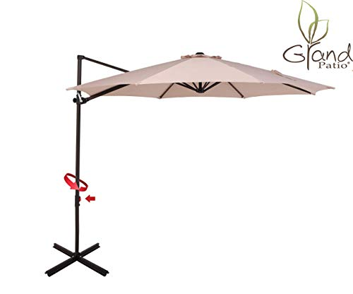 Grand patio 10 FT Aluminum Offset Umbrella, UV Protected Patio Cantilever Umbrella with Tilt and 360° Rotation, Champagne