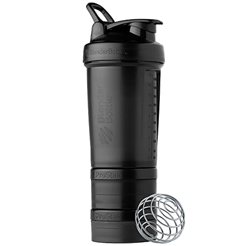 BlenderBottle Shaker Bottle with Pill Organizer and Storage for Protein Powder, ProStak System, 22-Ounce, Midnight Black