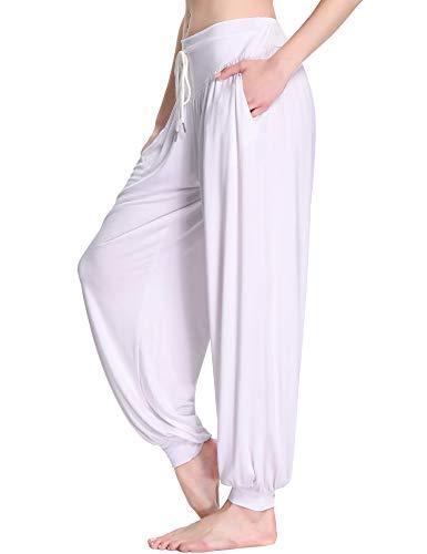 Sykooria Damskie spodnie do jogi, super miękkie, modalne bawełniane spodnie z pomponami, pilates, biały, 3XL