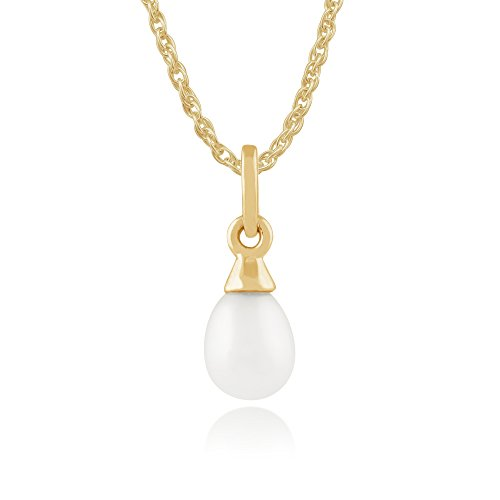 Gemondo Pearl Necklace, 9ct Yellow Gold 0.80ct Freshwater Pearl Pendant on 45cm Chain