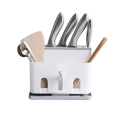 WJLED Portacuchillos Multifuncional, portacuchillas de plástico, protección separada, diseño de Bandeja de Drenaje, Apto para Cocina