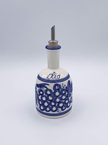 Aceitera redonda de cerámica pintada a mano con dibujos Romagnoli azul Made in Italy