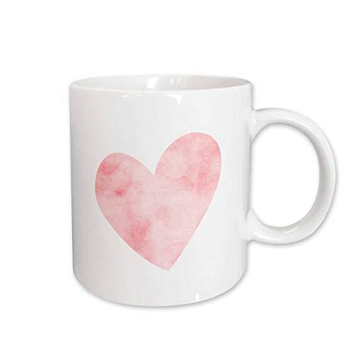 3dRose Pretty Blush Pink Watercolor Heart Mug, 11 oz