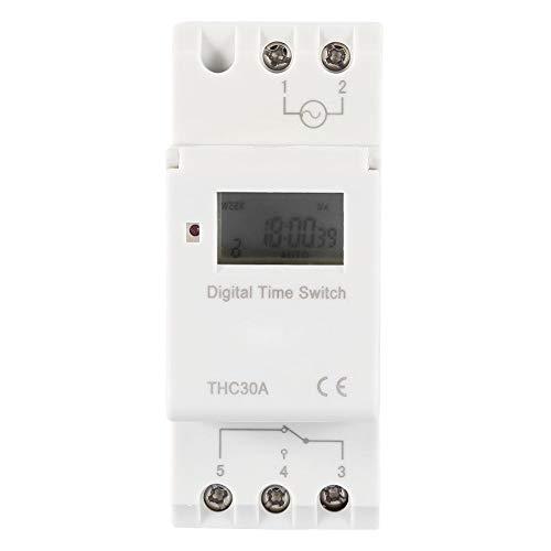 Digitaler Zeitschalter, THC 30A Programmierbarer Elektronischer Zeitschaltuhr Zeitrelais für DIN-Schiene, Abbindezeit 1 Minute - 168 Stunden, 86 × 36 × 66 mm(220V)