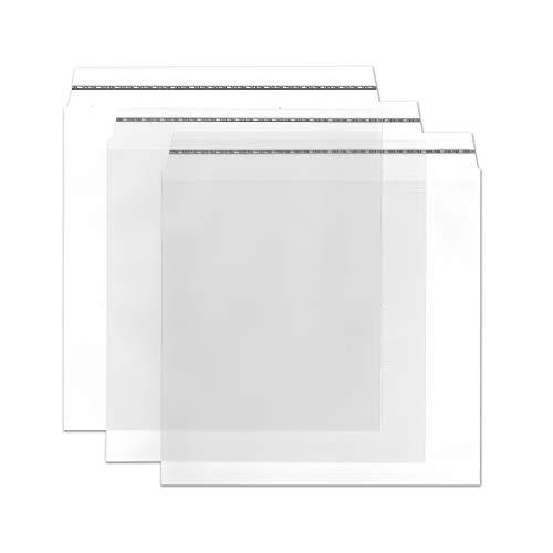 Durchsichtige Briefumschläge in Quadratisch - 50 Stück - Haftklebung - glasklare Post-Umschläge aus Transparentfolie - 16,0 x 16,0 cm - ideal für Werbung, Einladungen und Präsente - von Gustav NEUSER