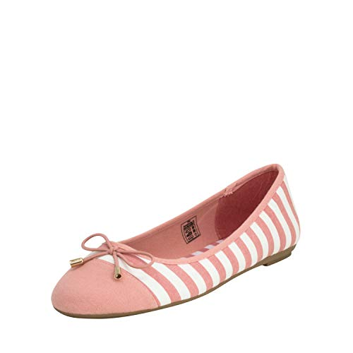 Fitters Footwear That Fits Damen Ballerina Grace Textil Ballerina mit Schleife gestreift im maritimen Look Übergröße (43 EU, pink weiß)