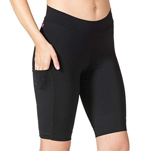 Terry Women's New Bike Bermuda Compression Shorts High Rise Leg Pocket Grip-Free Hem Longer Length Fleet Air Chamois - Black - Medium