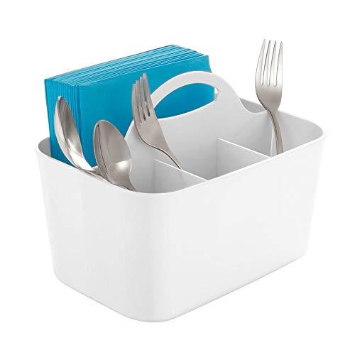 mDesign tragbarer Besteckkorb - Besteckständer mit Griff für Aufbewahrung von Besteck, Servietten etc. - Besteckhalter mit 4 Fächern - weiß