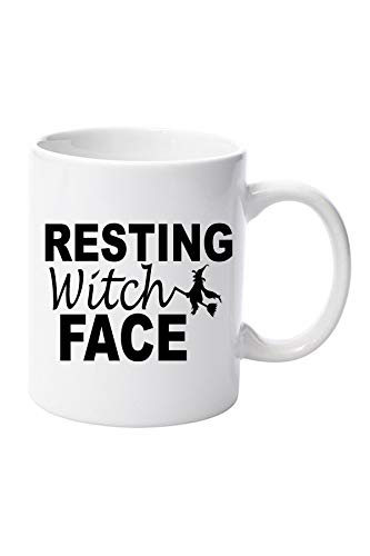 Resting Witch Face Mug with Flying Witch on Broomstick Graphic