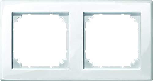 Merten 478219 Cadre M-SMART 2 bandes Blanc polaire brillant