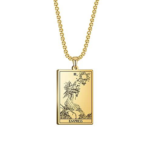 TEAMER Tarot Cards Collar de acero inoxidable Joyería Celta Astrología Adivinación Magia Amuleto Collar Major Arcana Colgante Collares