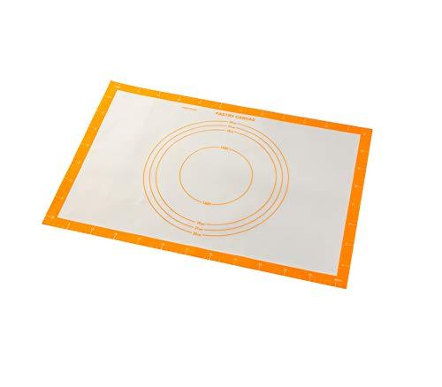 Silikonmatte Backmatte Silikon Teigmatte Wiederverwendbar Antihaft rutschfest mit Messung,Rutschfeste Backunterlage Baking Mat Backmatte Teigmatte für Fondant Gebäck Pizza Matte,62 x 42 cm(Orange)