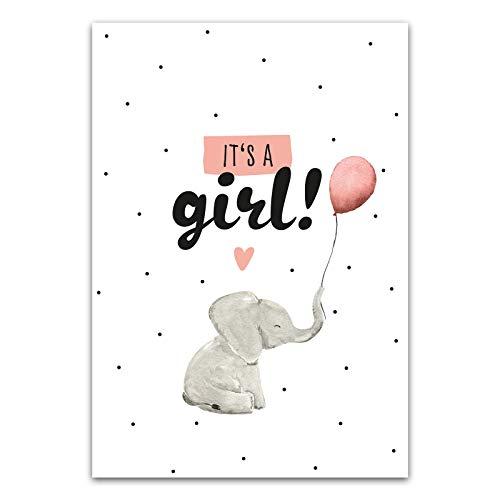 Him & I® - It's a girl! Postkarte - Karte zur Geburt eines Mädchen, Geburtskarte zur Ankündigung eines Mädchen - Maße: 16,5 cm x 11,5 cm