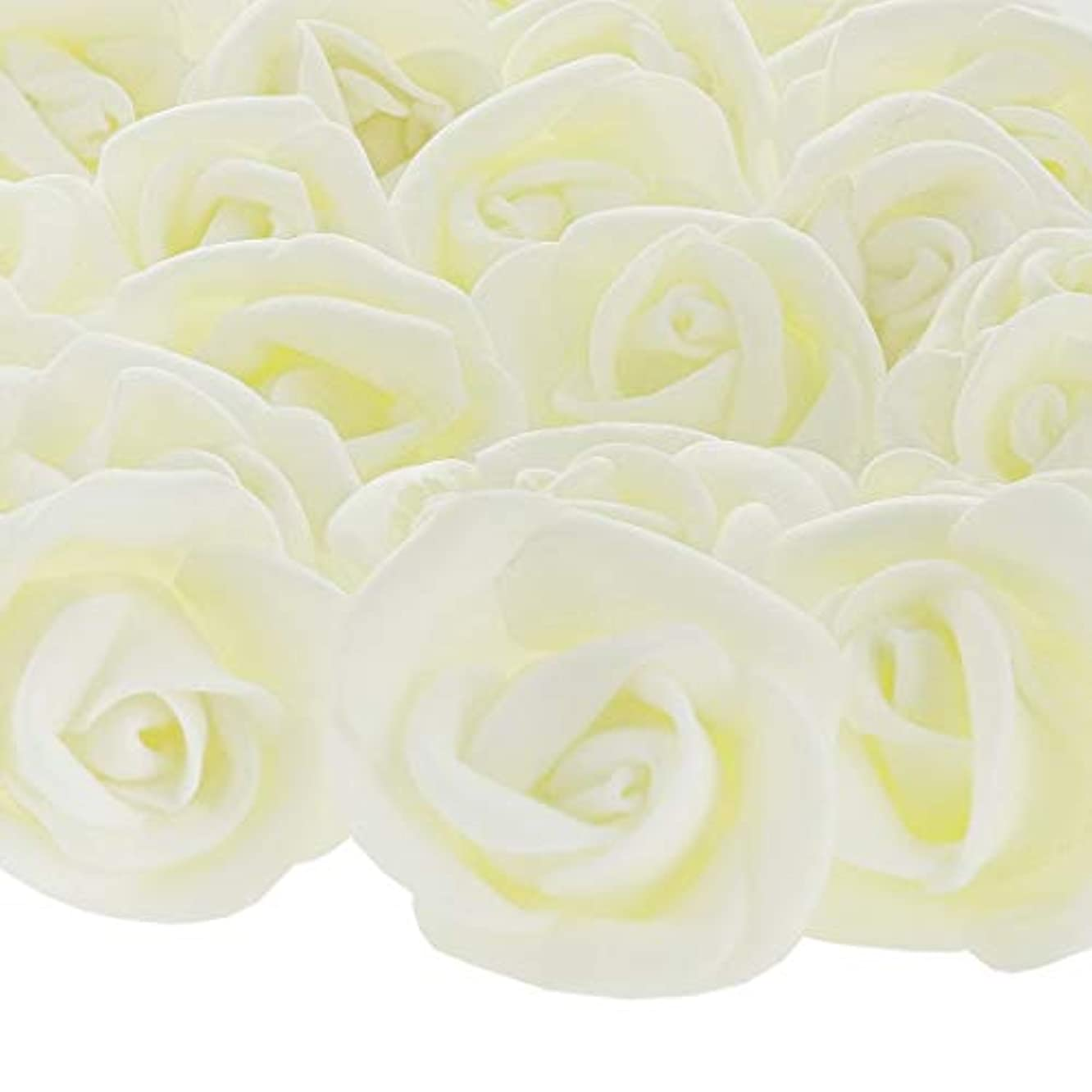 Bright Creations 200-Pack Off White Rose Flower Heads for DIY Crafts, Weddings, Decor, 3 x 2.5 Centimeters