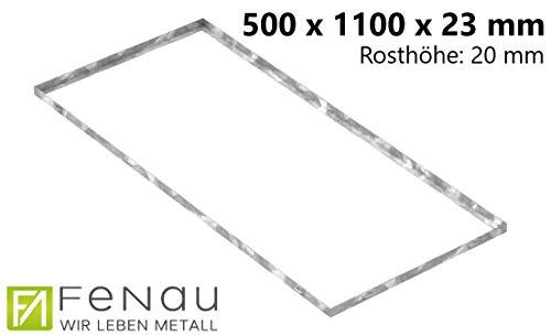 Fenau | Gitterrost-Zarge Maße: 500 x 1100 x 23 mm für Rosthöhe von 20 mm (feuerverzinkt – mit Aussparung für Maueranker) - (Passend für Baunorm-Rost: Fenau 490 x 1090 x 20 mm)