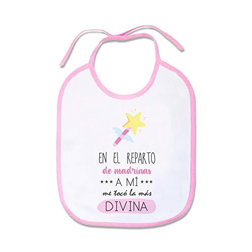 SUPERMOLON Babero Bebé En el reparto de madrinas a mi me tocó la más divina Rosa pastel con cordones