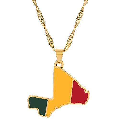 HJMKL Collar De Mapadiseño Clásico Malí Bandera De Contorno Cadena Dorada Mapa Colgante Collar Único Étnico Brillante Encanto Joyería para Mujeres Unisex Viaje Patriótico Conmemorar El Regalo