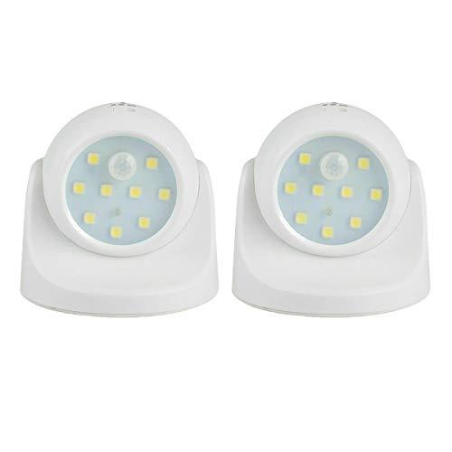 iMeshbean LED Nachtlicht mit Bewegungssensor, LED Strahler mit Bewegungsmelder 360 Grad Drehbare Sicherheitslicht Wandleuchte Notlicht, Geeignet für Drinnen und Draußen (Weiß, 2 Stück)