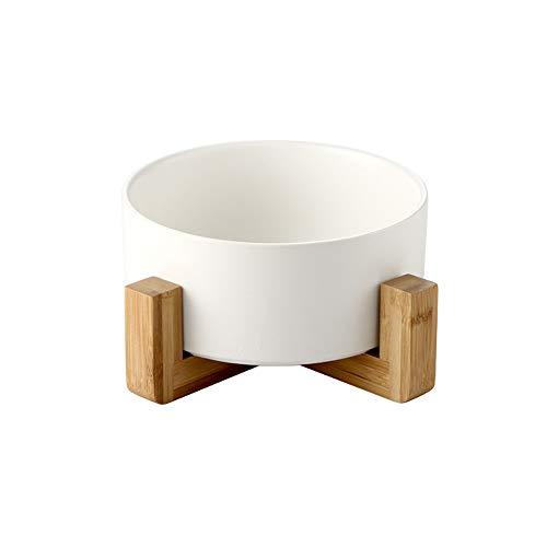 ACYOUNG Keramik Futternapf Katze Hund Fressnapf für Welpe Futter und Wasser mit Metall/Holz Ständer (Weiß - Holz Ständer,(S) Ø 13 x H 5 cm)