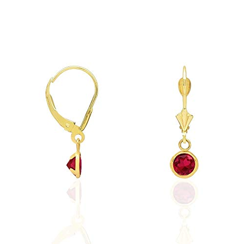 14k Yellow Gold Round Bezel CZ Birthstone Dangle Drop Leverback Earrings 0.8', Ruby