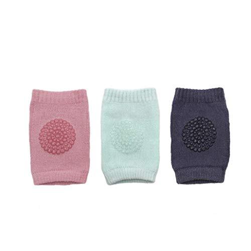 Nicetruc Rodilleras del Bebé, Calcetines Bebés De Arrastre Antideslizante Rodilla Protección Unisex del Niño Diseño De Rodilla Ajustable (3 Pares)
