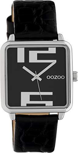 Oozoo Damenuhr Quadratisch mit Lederband 28 x 28 MM Schwarz/Schwarz C10369