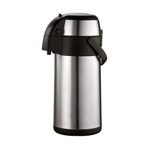 axentia Airpot in Silber, Pumpkanne aus rostfreiem Edelstahl, Isolierkanne mit Doppelwand, Isolierflasche mit Pumpe und unzerbrechlichem Korpus, Pump-Kaffeekanne mit Tragebügel, Volumen: ca. 3 L