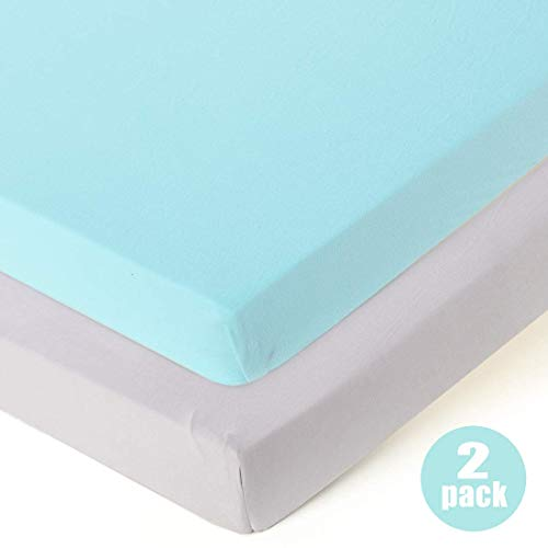COSMOPLUS Fitted Playard Sheets - 2 Pack Mini Crib Sheet Set,Pack n Play Mattress Cover, Stretchy Ultra Soft,Teal/Grey