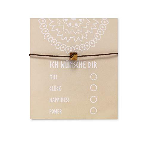 NIMBIM Armband mit Karte zum verschenken Geschenkideen Freunde Beste Freundin BFF Abschiedsgeschenk Kollegen Glücksarmband mit Stein Wunscharmband (Brown)