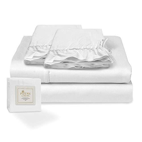 Pizuna 400 Hilos Juego de sábanas algodón Cama 90cm , 100% algodón Tejido de satén Suave y Transpirable con 1 sábana Plana + 1 sábana Ajustable + 1 Cilíndrica Funda de Almohada