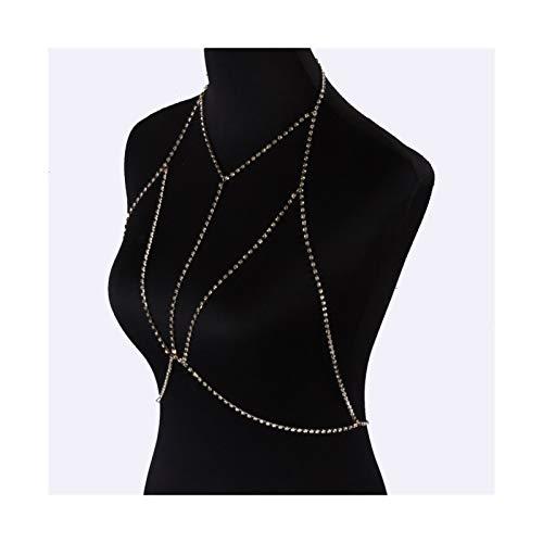 LOEY Frauen BH-Kette Bikini Auffanggurt böhmischer Kristall Gürtel-Bauch-Körper Schmuckkette Brustkette Halskette