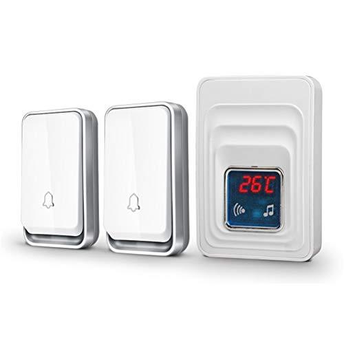YSAYK Pantalla De Temperatura del Timbre del Hogar del Botón De La Batería del Receptor del Timbre Inalámbrico Impermeable Autoalimentado (Color : 2 Buttons 1 Receiver)