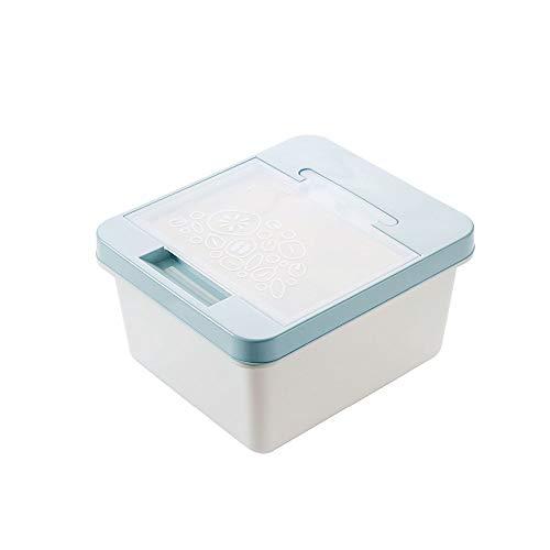 YWSZJ Cubo de arroz a Prueba de Insectos, Caja de Almacenamiento de arroz sellada de plástico, Cilindro de arroz, Tanque de Almacenamiento de harina de Cocina con Taza medidora (Color : Blue)