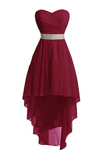 JAEDEN Ballkleider Damen Brautjungfernkleid Hochzeit Partykleid Herzausschnitt Abendkleid Vorne Kurz Hinten Lang Burgund EUR42