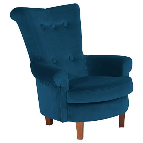 Max Winzer® Ohrensessel Tilly, petrol (blau), Samtvelours, Retro, Romantik, Landhaus, 86 x 90 x 99 cm
