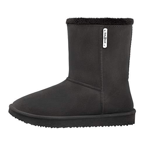 tomBrook | PVC-Damen-Stiefel mit Warmfutter | Echtleder-Optik | wasserdicht | Made in EU | Fb. Anthrazit | Gr. 36 EU