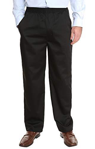 Pembrook Men's Full Elastic Waist Twill Casual Pant - L - Black