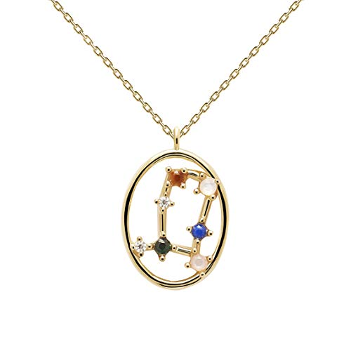 P D Paola Ladies Necklace Star Sign Gemini Gold Plated Silver CO01-346-U