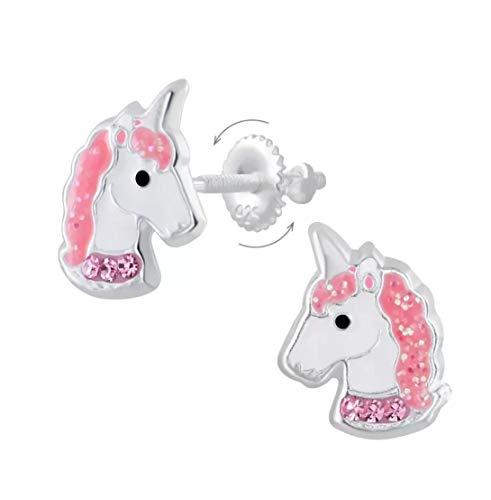 La Rosa Princesa - Pendientes infantiles de unicornio, plata de ley 925, cierre de rosca, cristal.