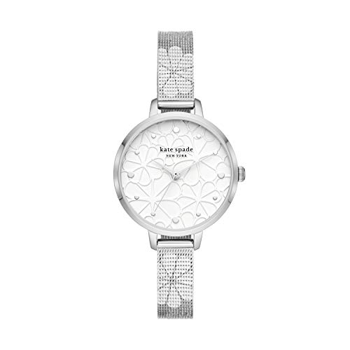 kate spade new york Women's Metro Quartz Watch with Stainless Steel Strap, Silver, 10 (Model: KSW1696)