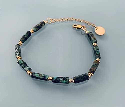 Pulsera de turquesa africana, pulsera de mujer con piedras mágicas naturales y perlas Heishi chapadas en oro de 24k, pulsera de oro