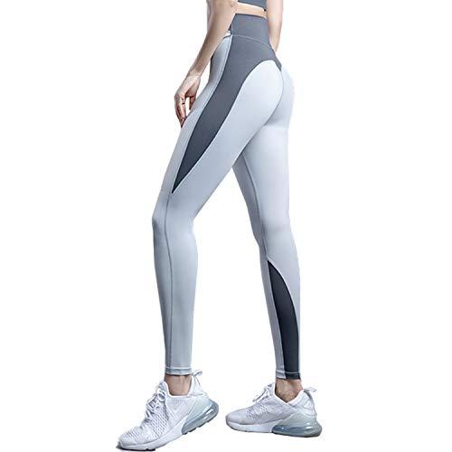 LZJDS Leggings Push Up Mujer Mallas Pantalones Deportivos Alta Cintura Elásticos Yoga Fitness,para Running Training Fitness Estiramiento Yoga y Pilates,Gris,S