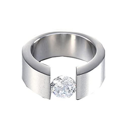 Anillo negro de moda para hombre, anillo de diamantes de imitación de circón para hombres / mujeres, joyería con encanto9StyleF