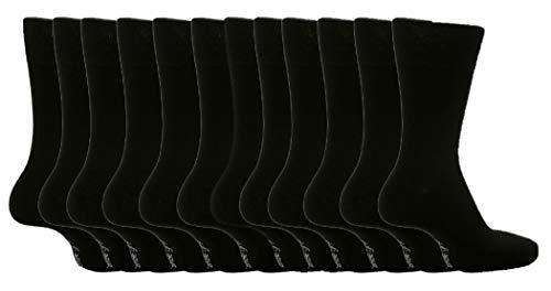 Socken, Herren, ohne Gummib&, einfarbig, Größe 39 – 45, 12Paar Gr. Large, Black MGG100