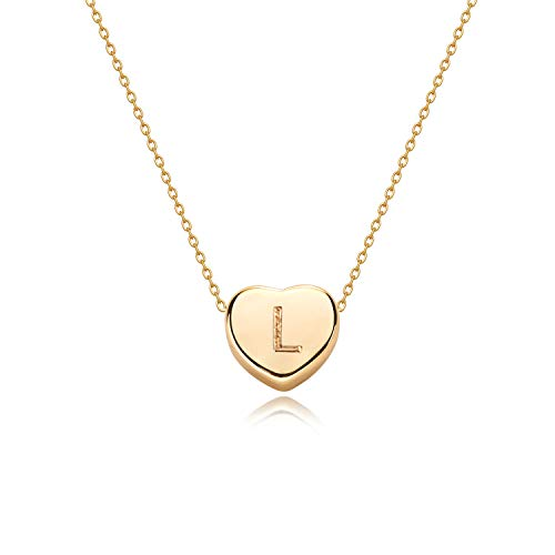 Tiny Gold Initial Heart Necklace-14K Gold Filled Handmade Dainty Personalized Heart Choker Necklace For Women Letter L