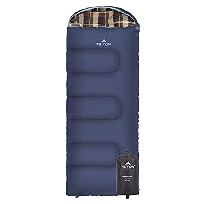 TETON Sports Celsius Junior Kids Sleeping Bag; Perfect for Camping, Traveling, and Sleepovers; Start Their Camping Experience Off Right; Sleeping Bag; Blue/Plaid Liner, Left Zip