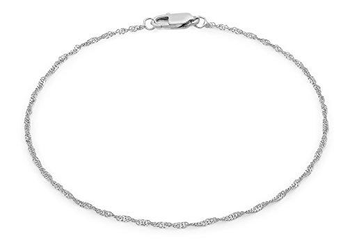 Carissima Gold 9ct White Gold Diamond Cut Twist Curb Chain Bracelet of 19cm/7.5'