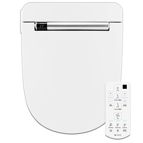 VOVO STYLEMENT VB-4100SR Electronic Smart Bidet Toilet Seat, Heated Seat, Warm Dry and Water, LED Nightlight, One-piece Toilet Bidet Seat, Round - White